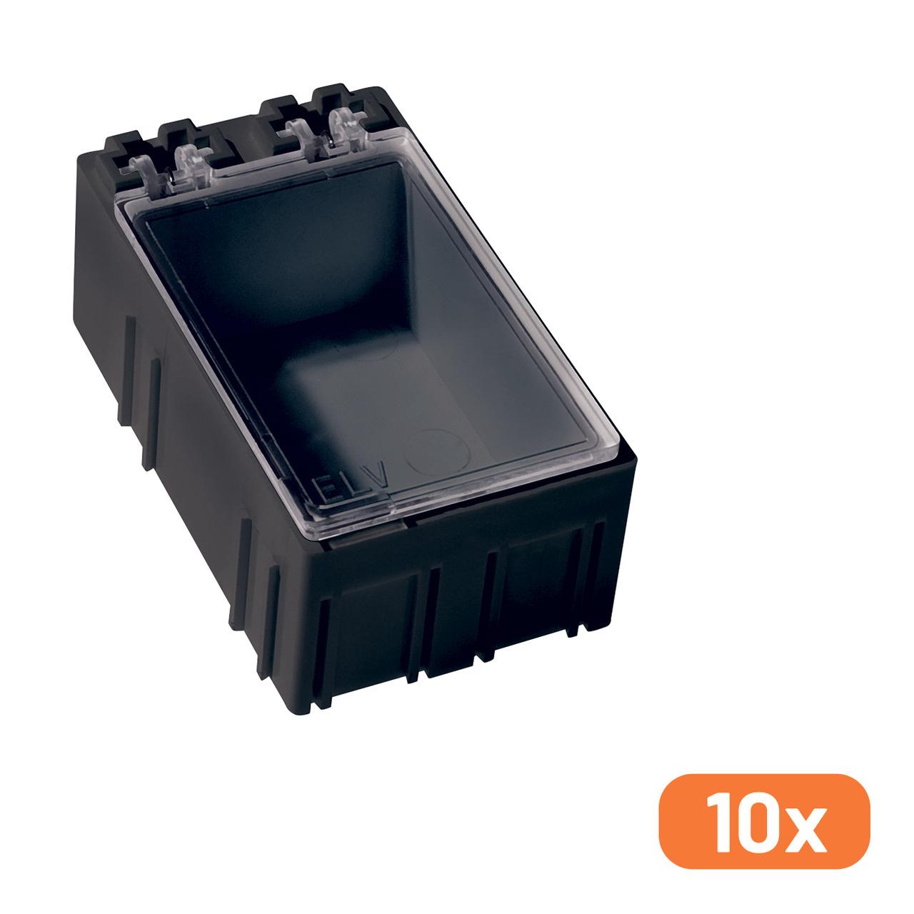 ELV 10er-Set SMD-Sortierbox- Schwarz- Antistatik- 23 x 31 x 54 mm
