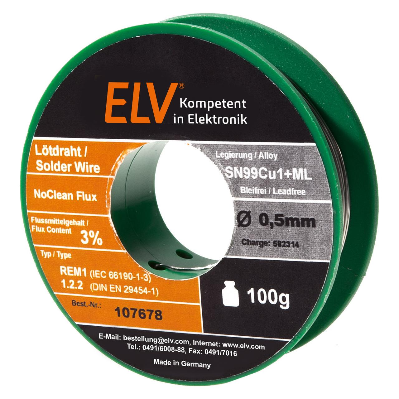 ELV No-Clean Lötzinn bleifrei Sn99Cu1+ML- 0-5 mm- 100 g