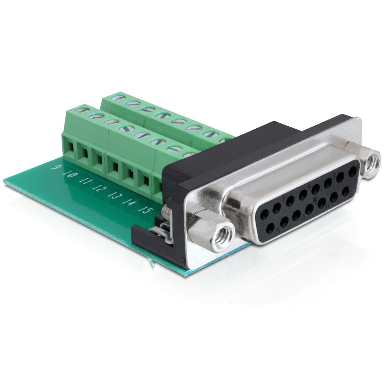 Delock Adapter Terminalblock > Sub-D 15Pin Buchse
