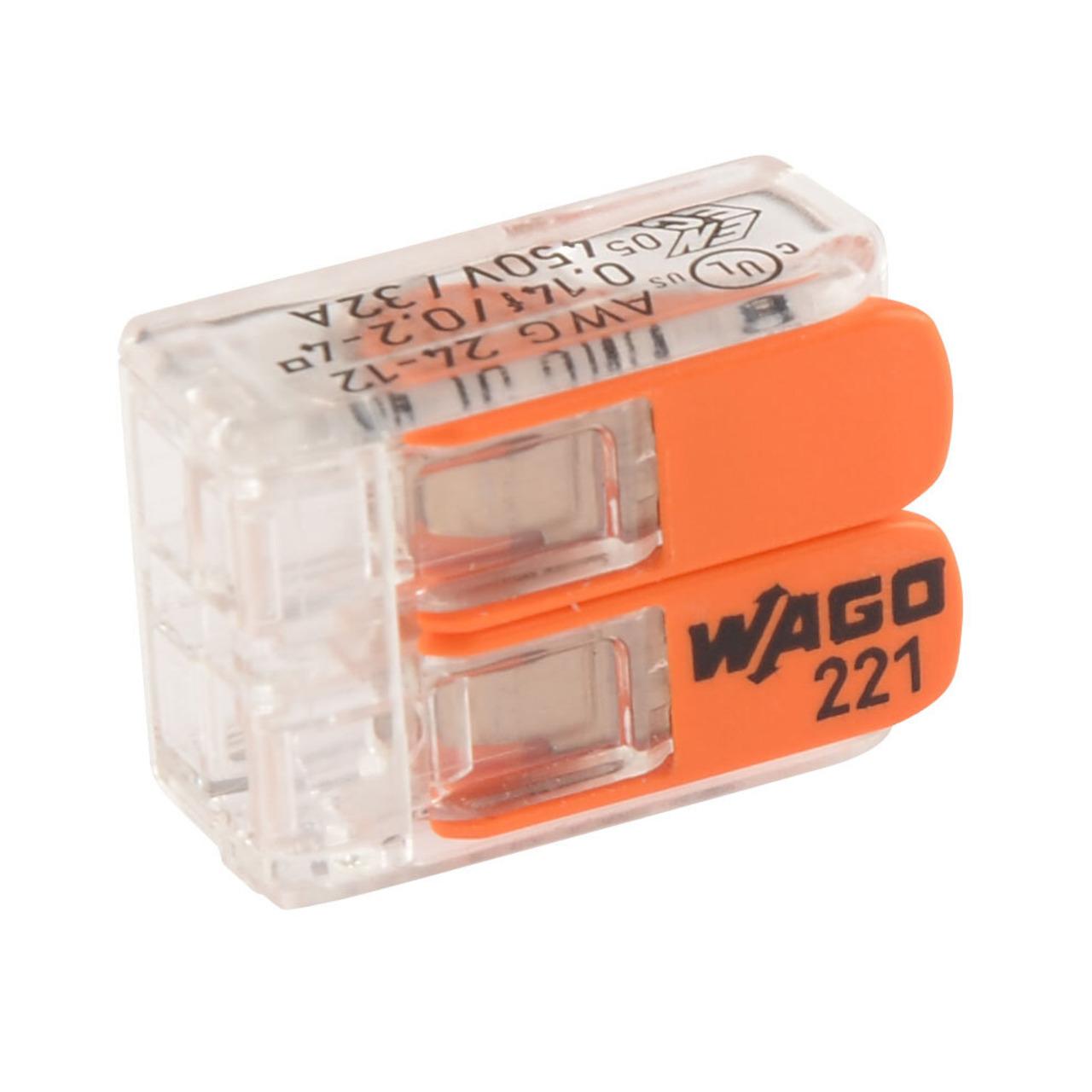 Wago 221-412 COMPACT Verbindungsklemme 2 x 4 mm²- 100 Stück