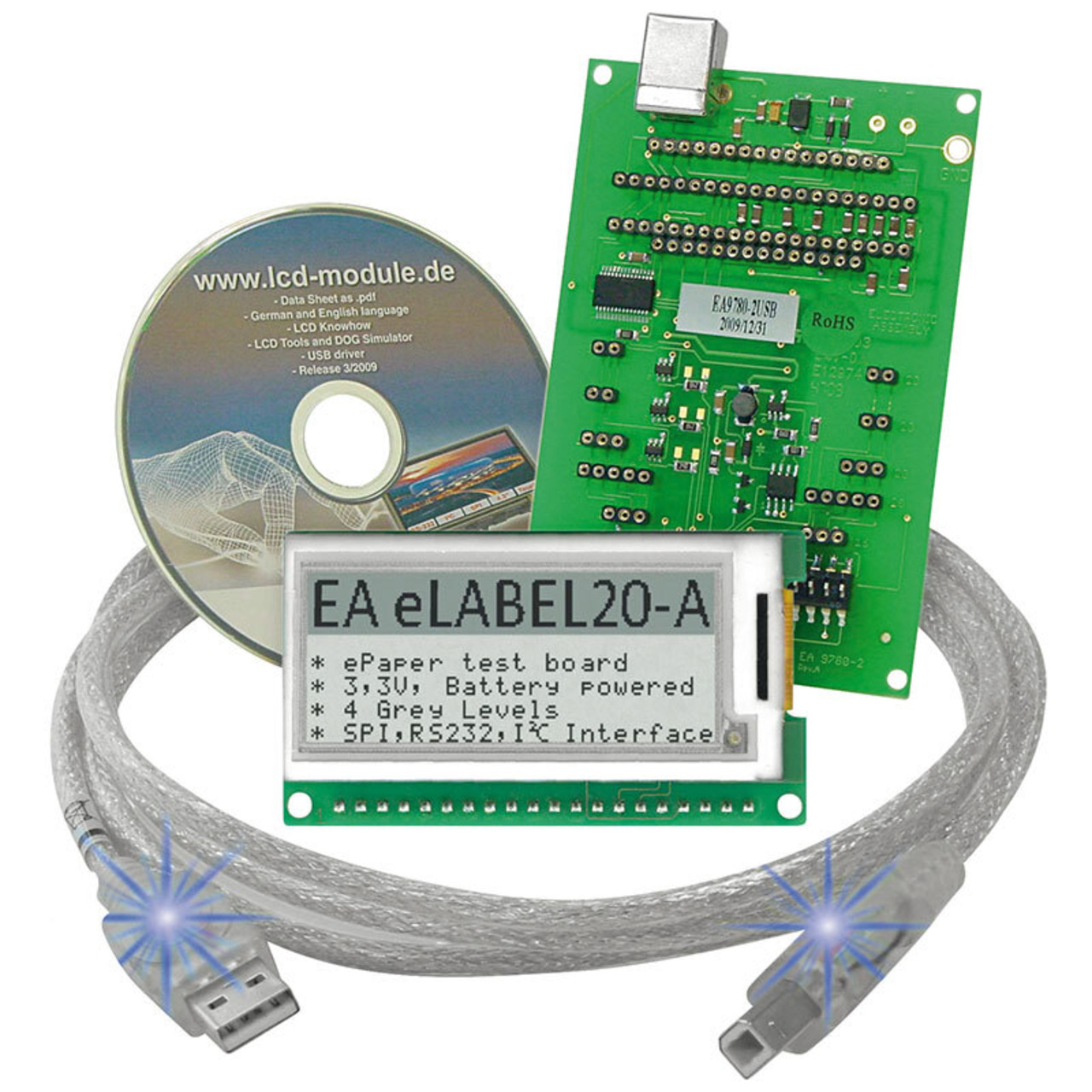 Electronic Assembly ePaper Display EA EVALEPA20-A- 172 x 72 Pixel- mit Ansteuerung und USB-Interface