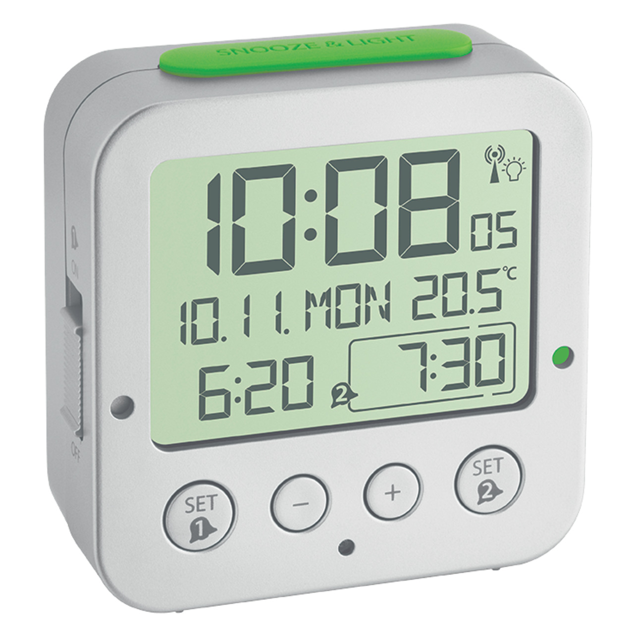 TFA Funk-Wecker mit Temperaturanzeige- automatische Displaybeleuchtung- 2 Weckzeiten einstellbar