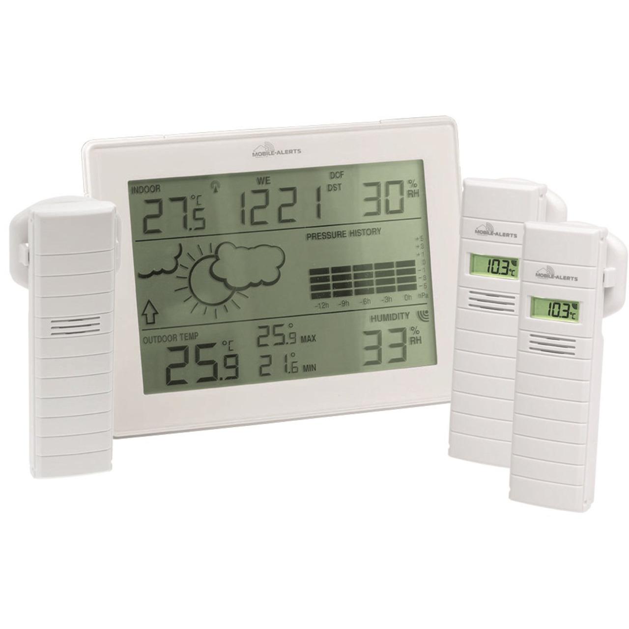 ELV Mobile Alerts Zusatzsensoren-Spar-Set: Wetterstation MA10410- inkl. 3x Thermo-/Hygrosensor