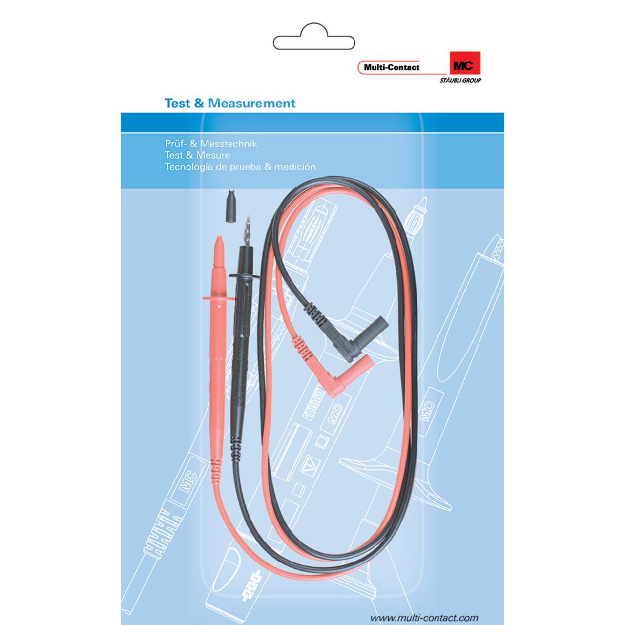 Multi-Contact Sicherheits-Messleitungen mit Prüfspitzen E4S-140- 4 mm- 1 m- schwarz/rot