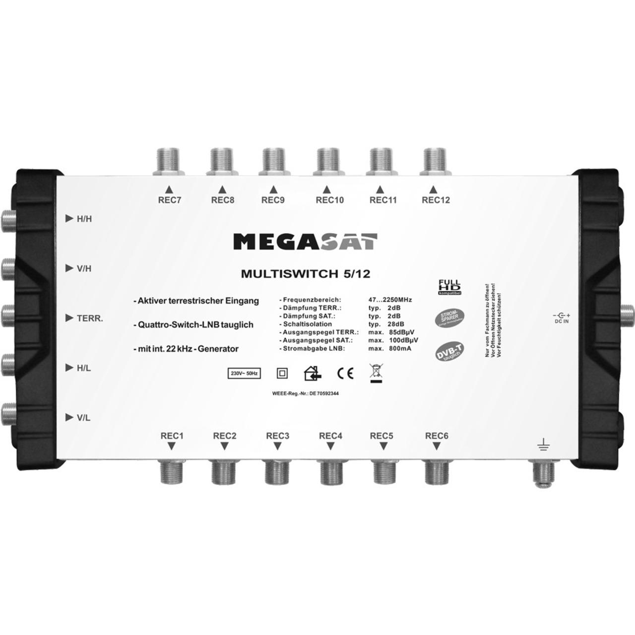 Megasat Multischalter 5/12- 1 Satellit- 12 Teilnehmer