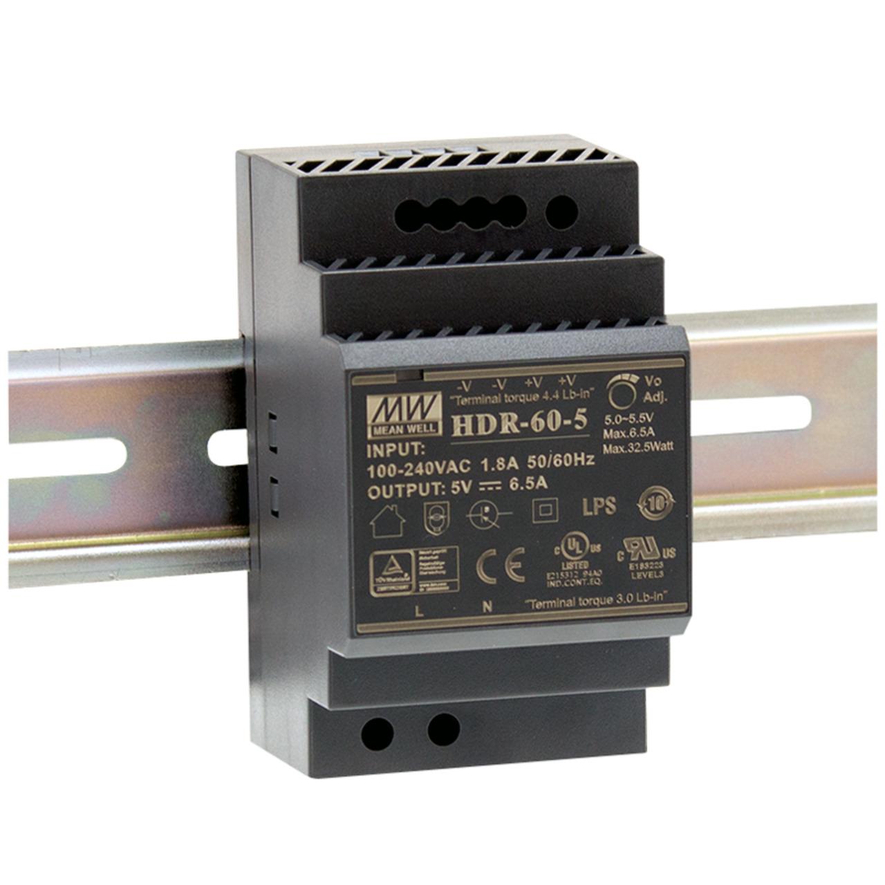 Mean Well Hutschienennetzteil 60 HDR-60-12 12 V- 4-5 A- 54 W- für Smart Home und Haussteuerung