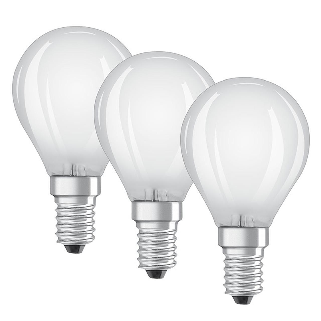 OSRAM 3er Set 4-W-LED-Lampe P45- E14- 470 lm- warmweiss- matt