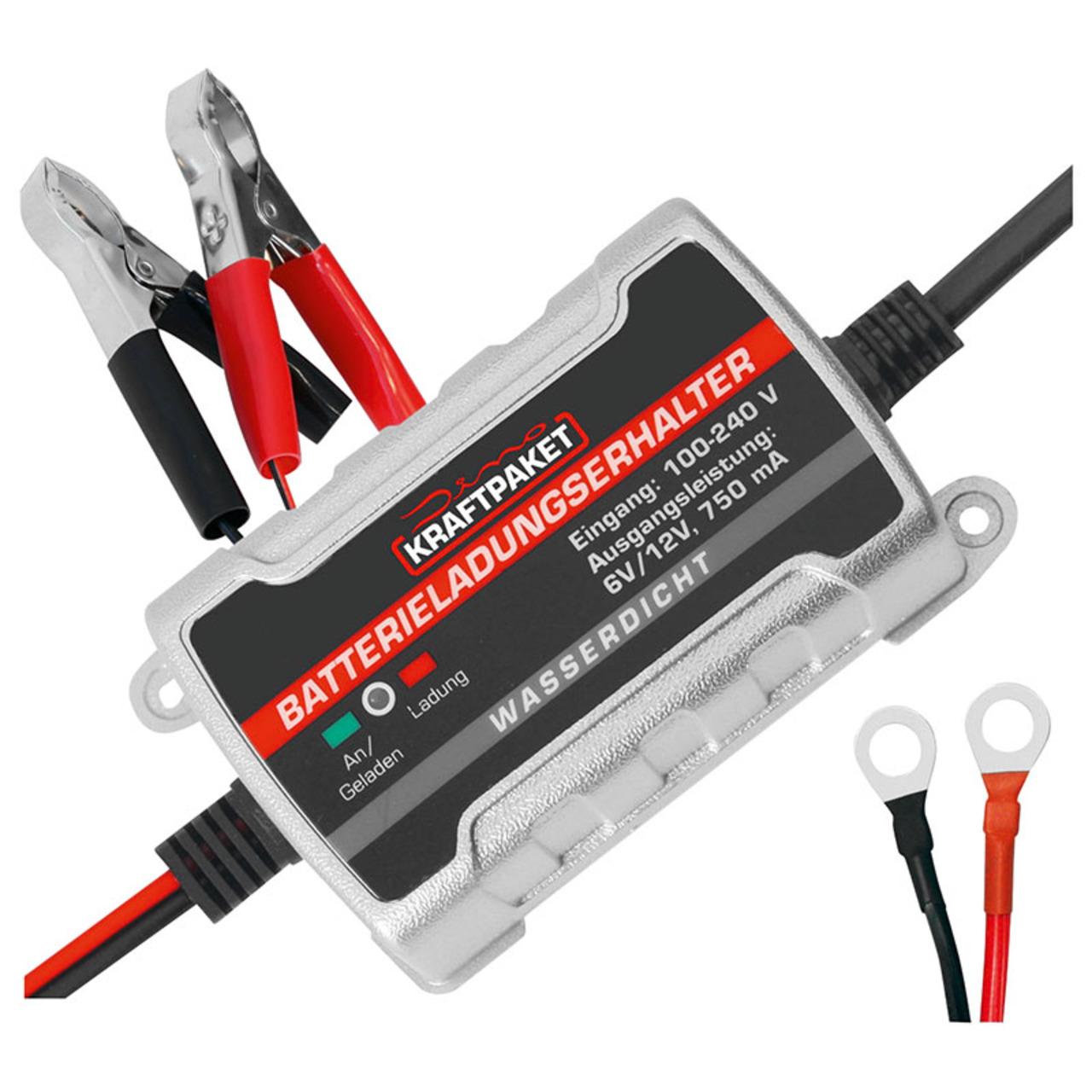 Dino Kraftpaket Erhaltungsladegerät für Autobatterien- 6/12 V- 0-75 A