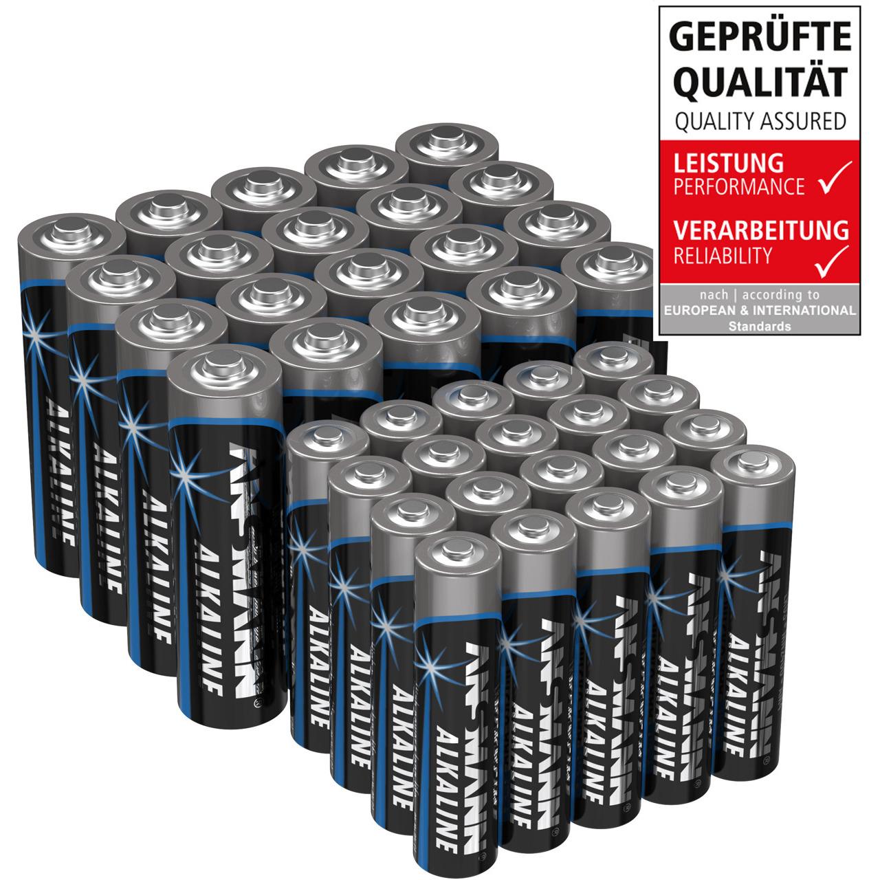 Ansmann Alkaline Batterie Vorratspack- 20x Mignon AA- 20x Micro AAA