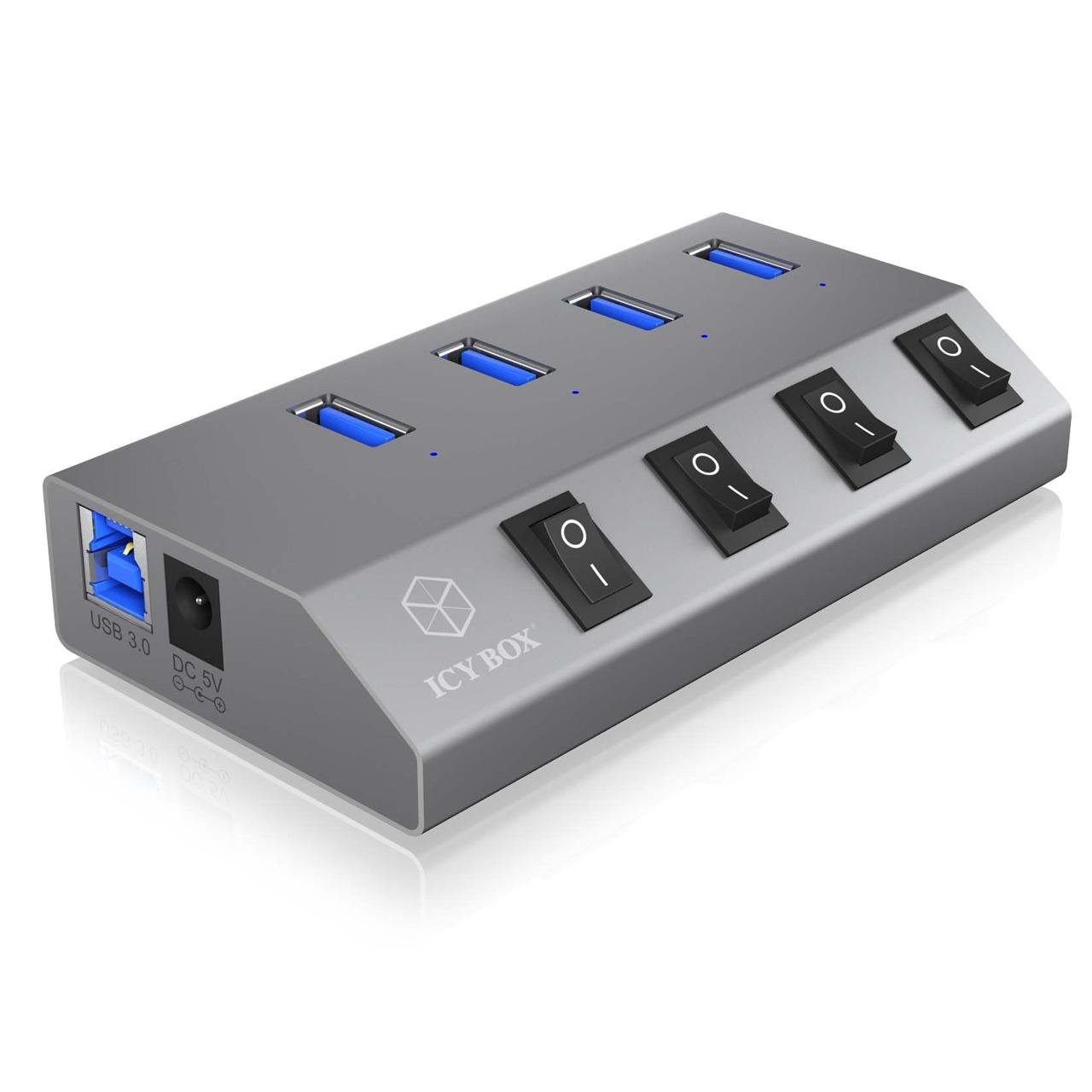 ICY BOX aktiver 4-Port-USB-3.0-Hub IB-HUB1405- An-/Ausschalter für jeden Port- bis zu 5 Gbit/s