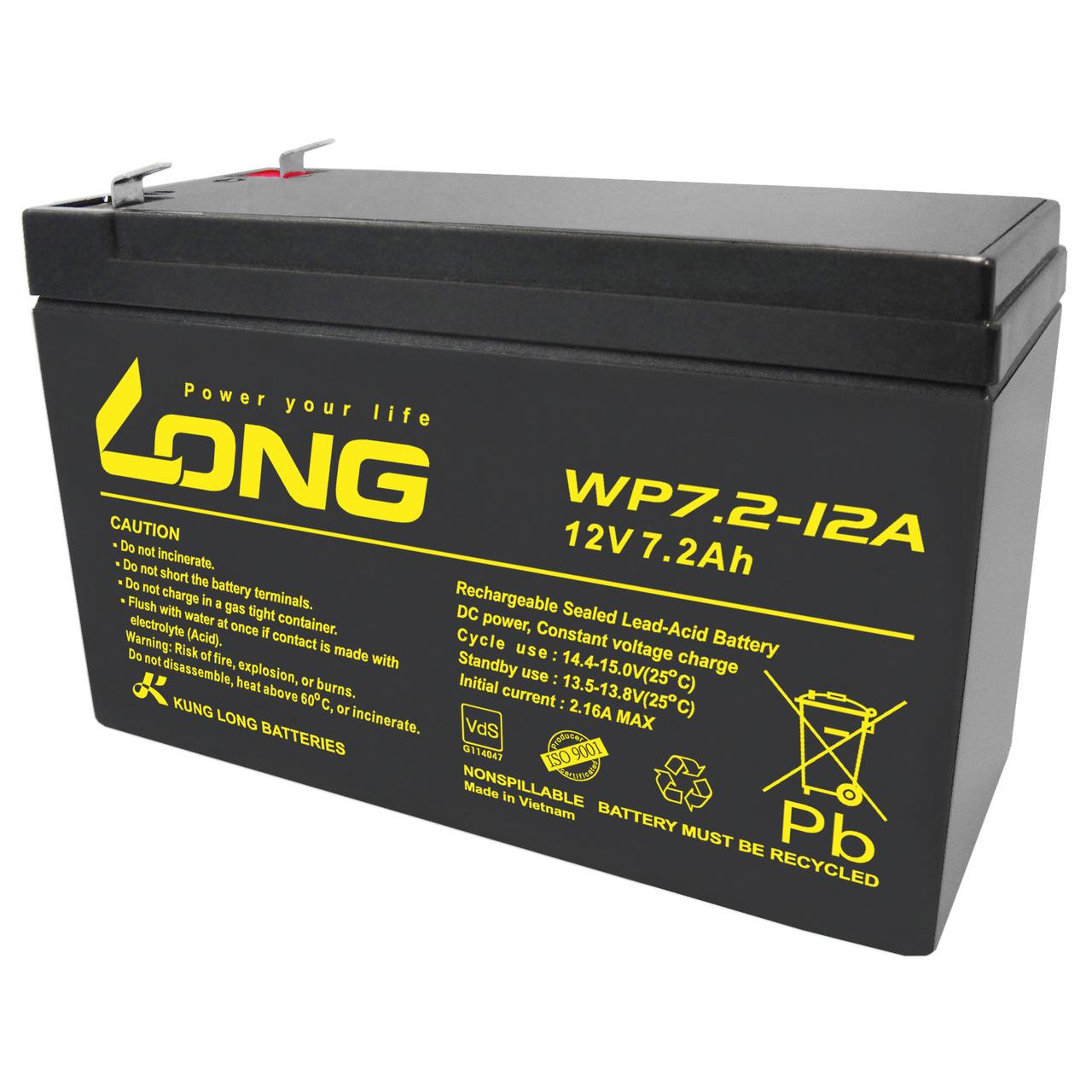 Kung Long Blei-AGM-Akku WP7.2-12A-F2- 12V- 7-2Ah nur für Standby- 6-3mm Kabelschuh