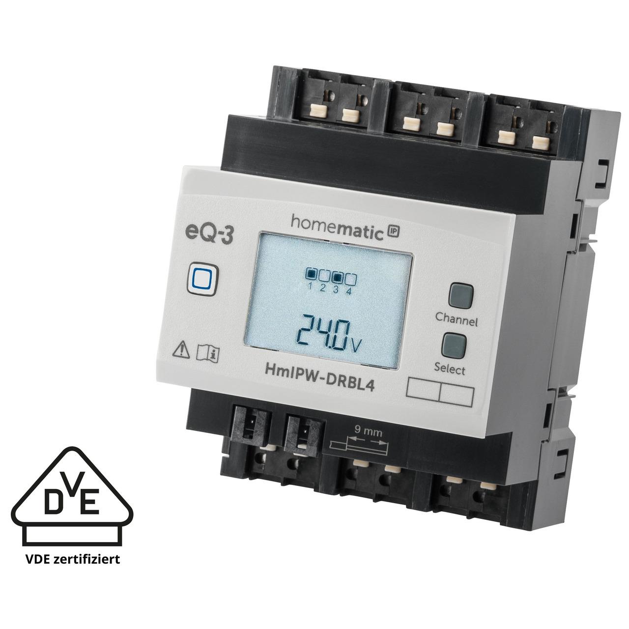 Homematic IP Wired Smart Home 4-fach-Jalousie-/Rollladenaktor HmIPW-DRBL4- VDE zertifiziert