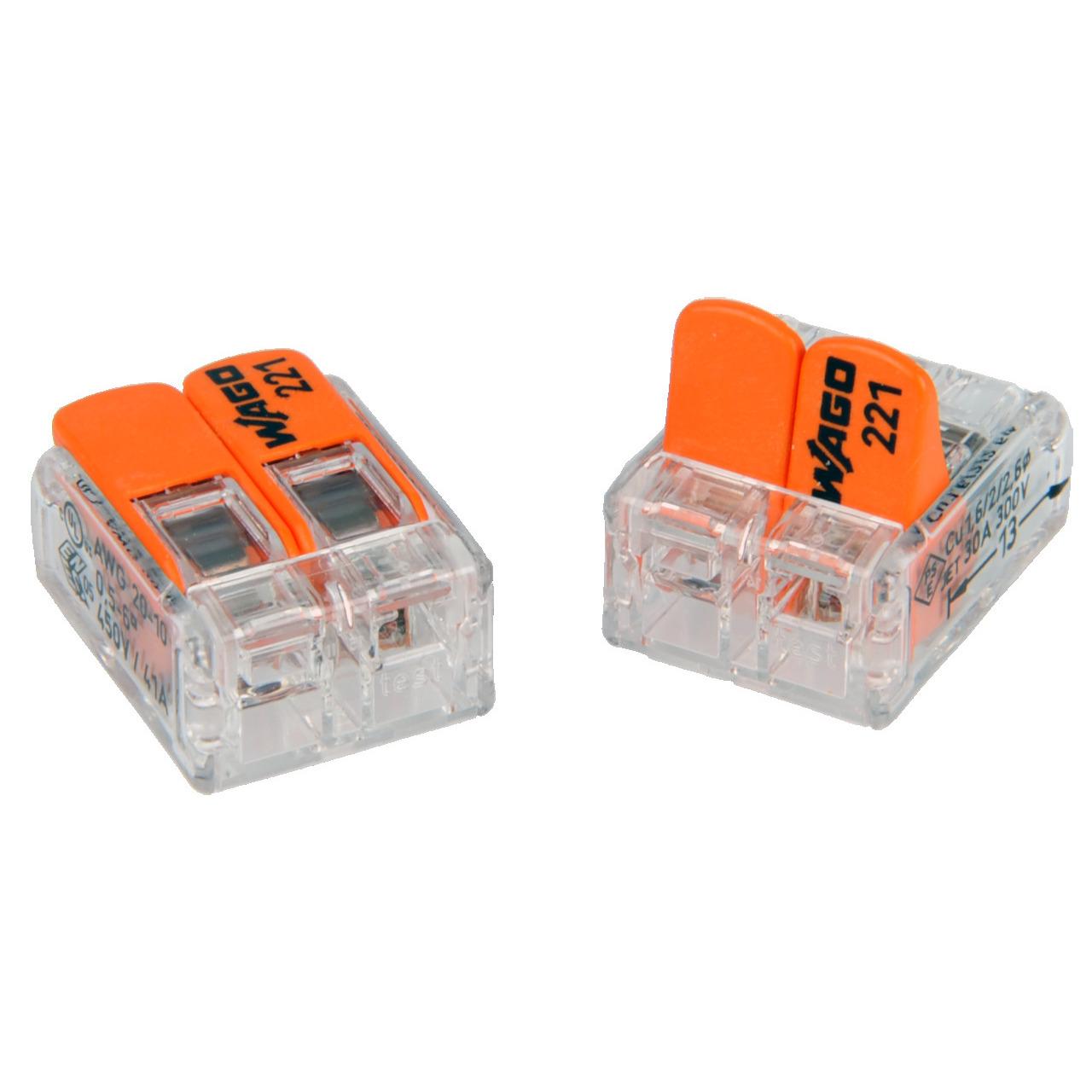 Wagoklemmen Typ 221-612- 2-Leiter-Klemme- Nennquerschnitt 6mm²- 50er Pack