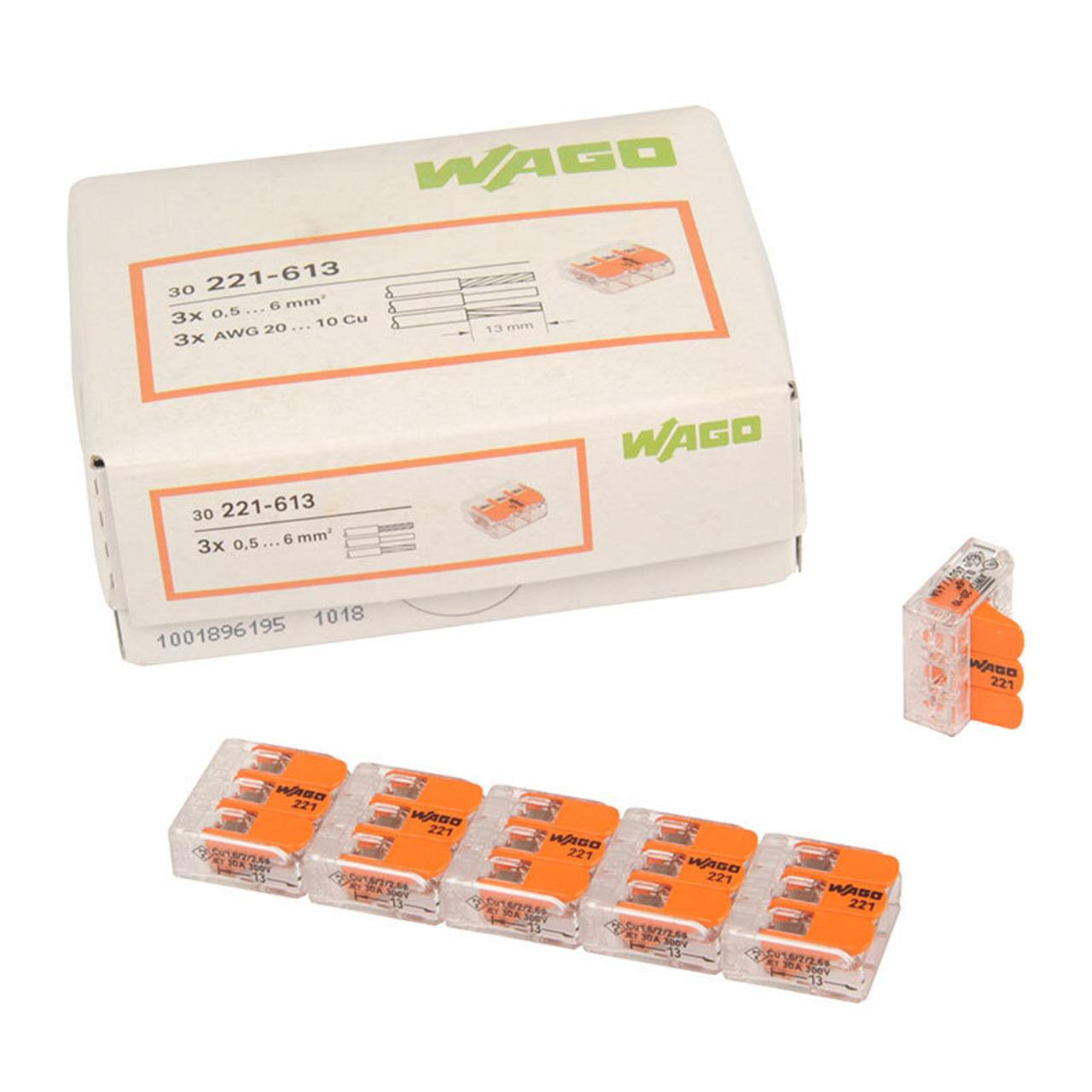 Wagoklemme 221-613- 3-Leiter-Klemme- Nennquerschnitt 6 mm²- 30er Pack