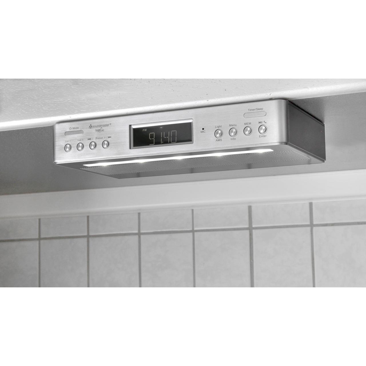 Soundmaster Küchen-/Unterbauradio UR2045SI- UKW/DAB+- mit Bluetooth-Funktion und Küchentimer