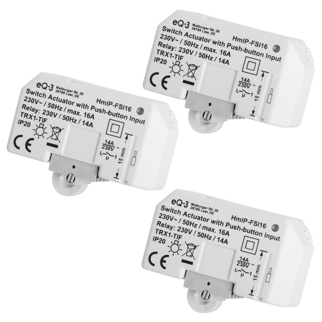 Homematic IP Smart Home 3er Set Schaltaktor mit  Tastereingang (16 A) HmIP-FSI16- Unterputz