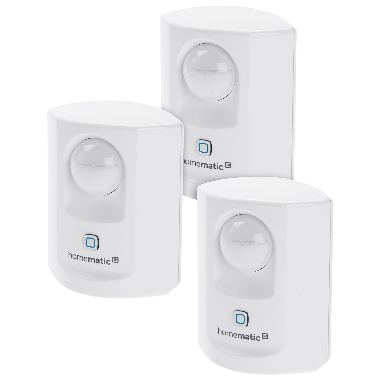 Homematic IP Smart Home 3er Set Bewegungsmelder mit Dämmerungssensor - innen