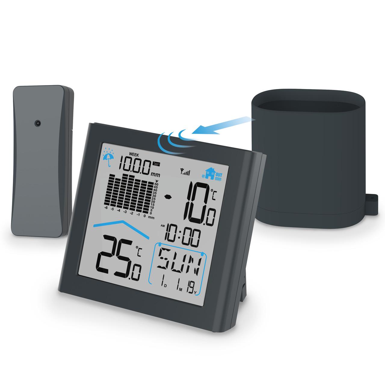 hama Funk-Regenmesser RAINY mit Basisstation- Niederschlagsmenge- Temperatur- Luftfeuchte- 433 MHz