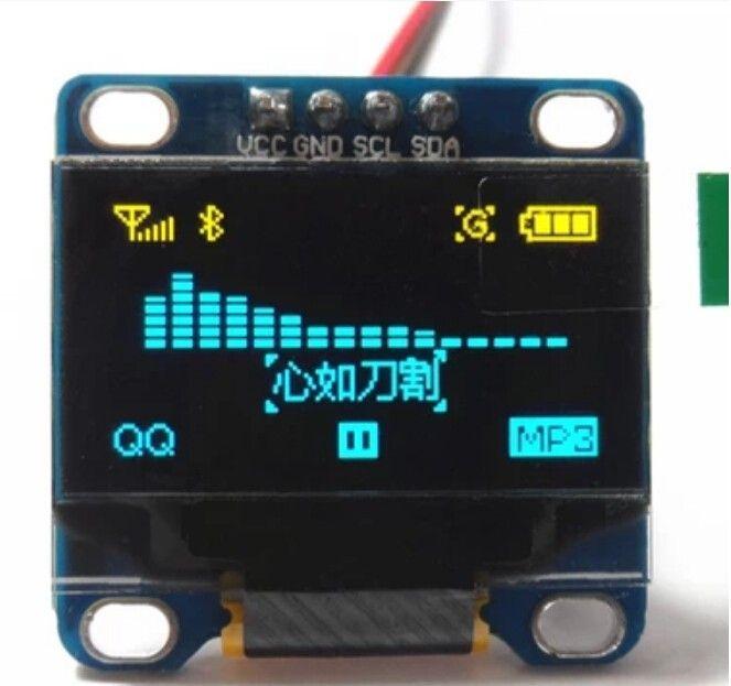 0-96 OLED Display Blau - Gelb  I2C-IIC-TWI 128x64 Pixel für Arduino