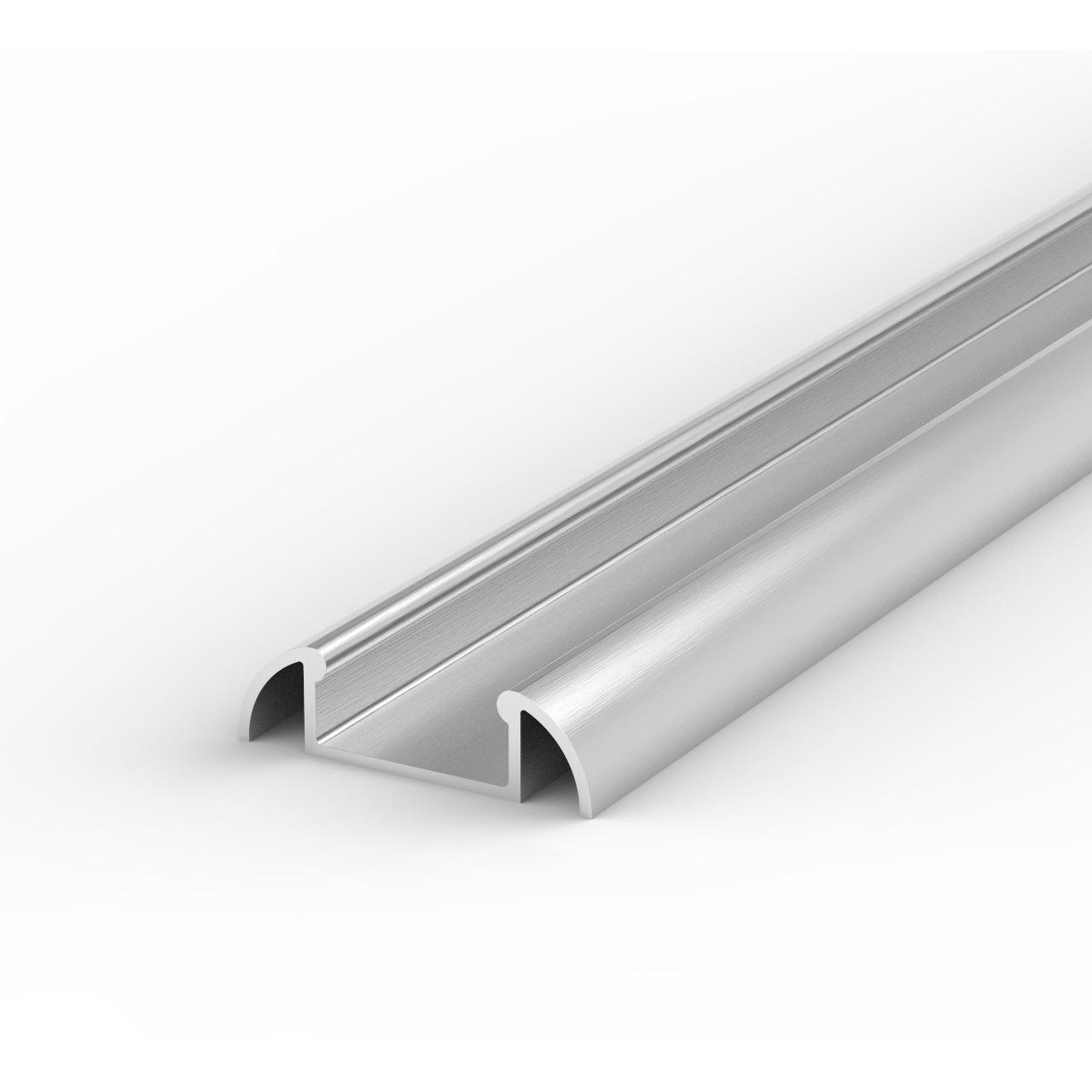 1-m-Aluminiumprofil P2-1 für LED-Streifen bis 12 mm Breite- mit matter Abdeckung- inkl- Endkappen