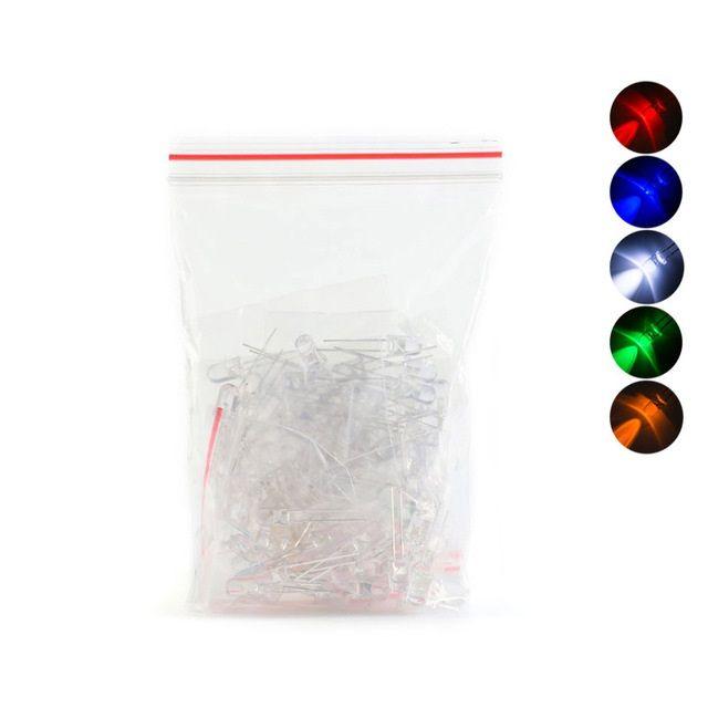 100 x F5 Leuchtdiode LED 5mm - sortiert weiss-  rot- gelb- blau- grün