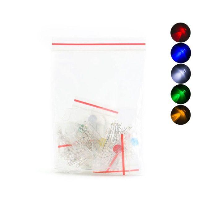 100 x Leuchtdiode LED 3mm - sortiert weiss-  rot- gelb- blau- grün