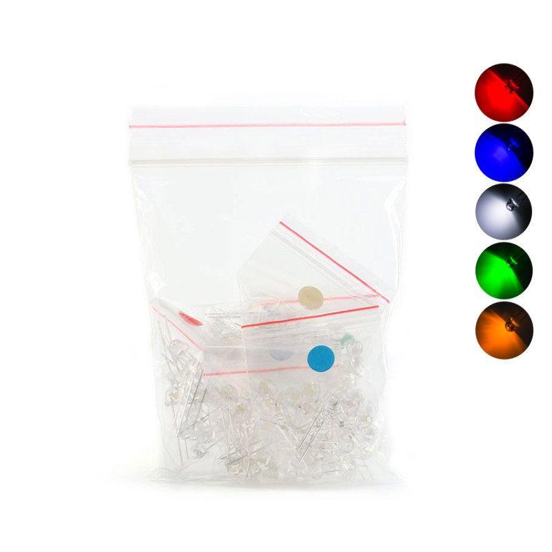 100x Leuchtdiode LED 5mm transparent - sortiert weiss-rot- gelb- blau- grün