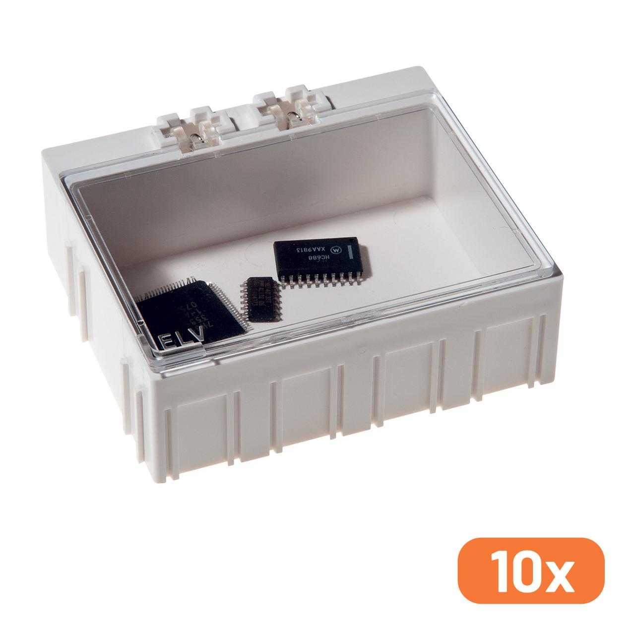 10er-Set ELV SMD-Sortierbox- Altweiss- 23 x 62 x 54 mm