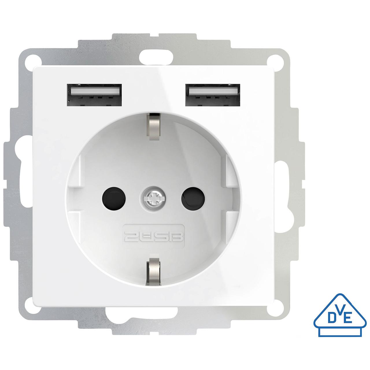 2USB Schutzkontakt-Steckdose mit 2 USB-Ports- reinweiss glänzend- 55 x 55 mm- VDE zertifiziert