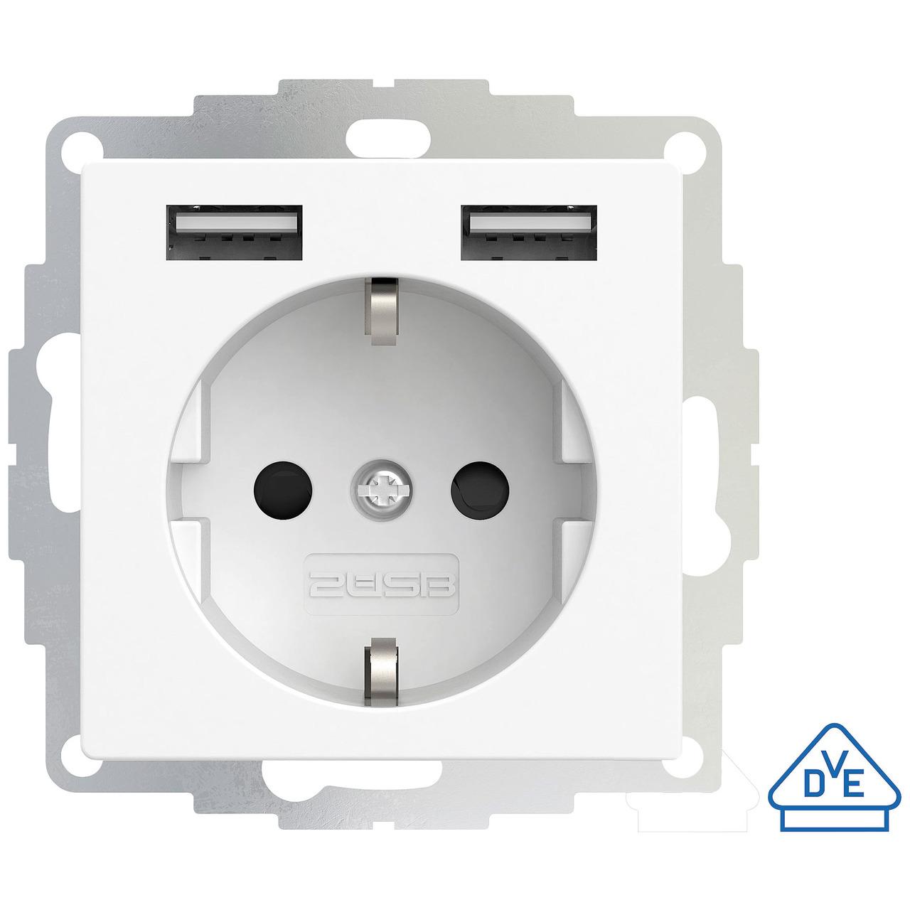 2USB Schutzkontakt-Steckdose mit 2 USB-Ports- reinweiss matt- 55 x 55 mm- VDE zertifiziert