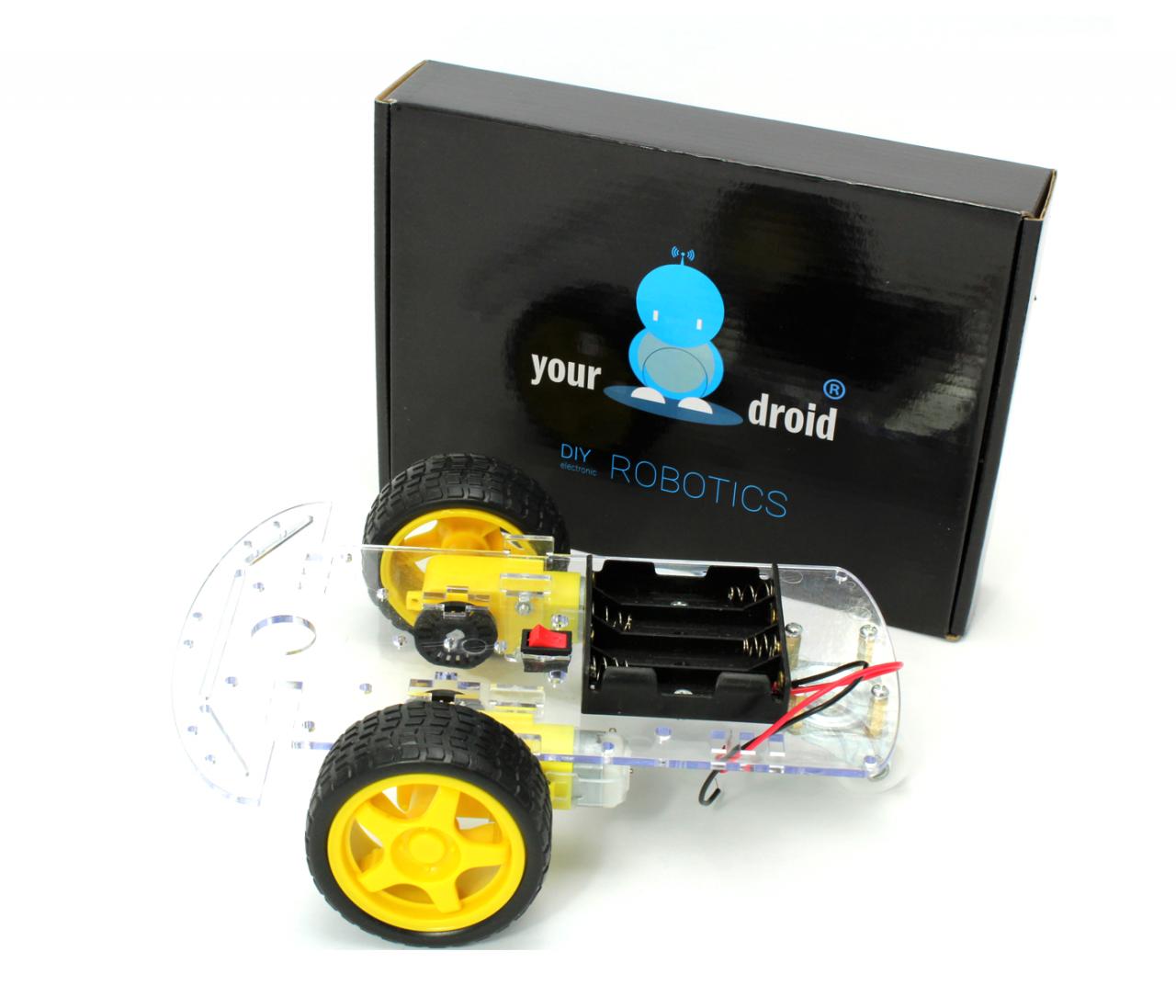 2WD Smart Car Chassis für DIY Roboter - mit Getriebemotor und Batteriebox