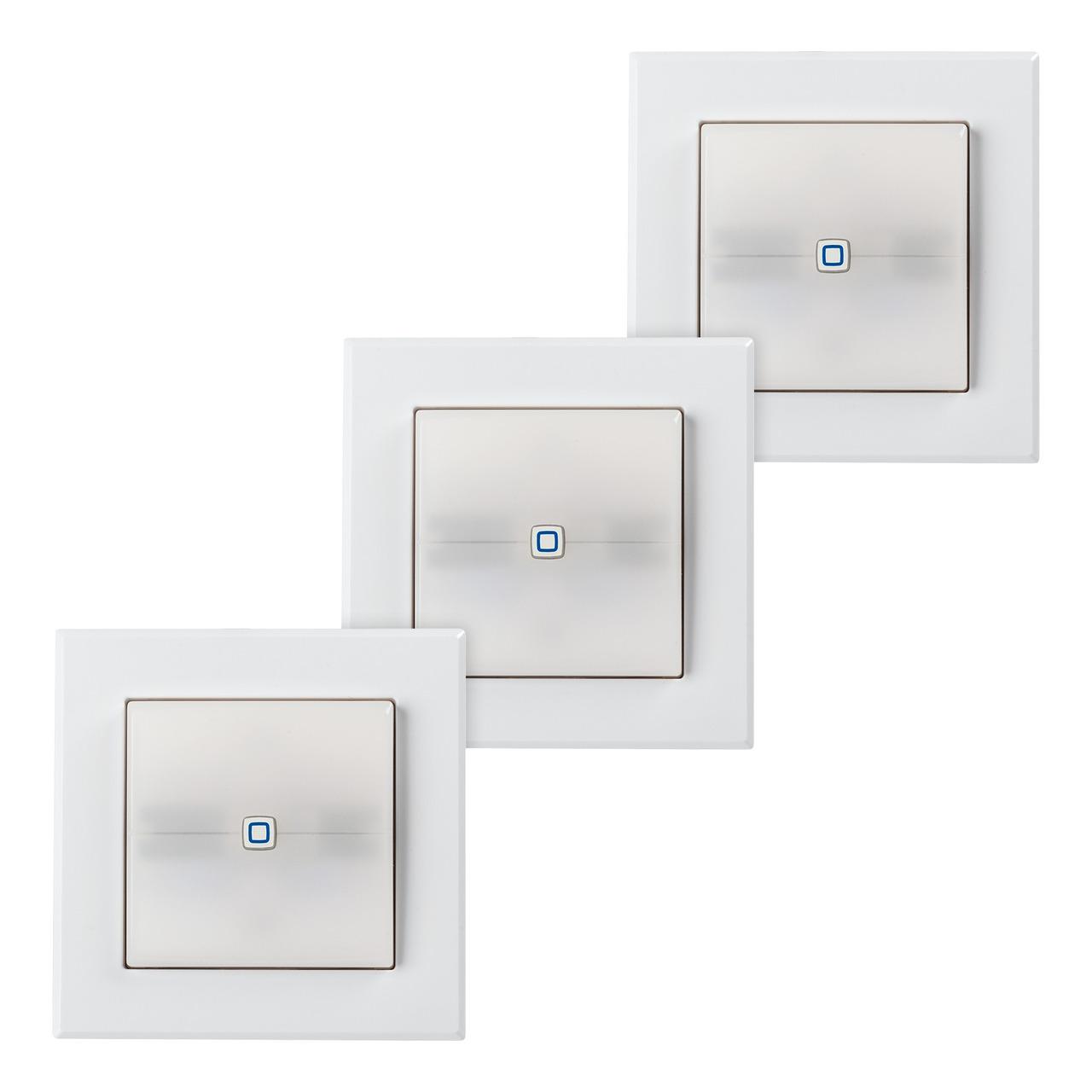 3er Set Homematic IP Schaltaktor fund-252 r Markenschalter mit Signalleuchte HmIP-BSL