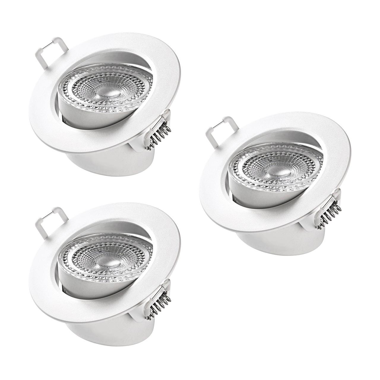 3er-Spar-Set - HEITRONIC 5-5-W-LED-Einbaustrahler DL7002- austauschbare Kunststoffringe- schwenkbar