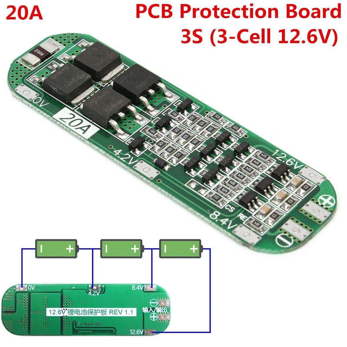 3S 20A Li-ion Lithium Batterie 18650 Ladegerät PCB BMS 12-6V Cell Schutz Board