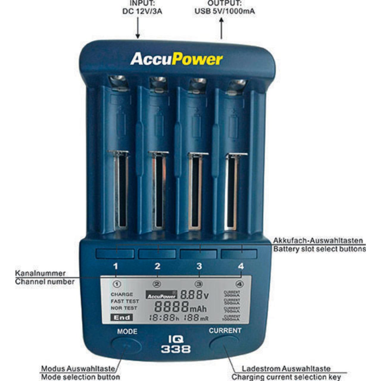 AccuPower Ladegerät und Akku Analyzer IQ338 für Li-Ion - NiCd - NiMH