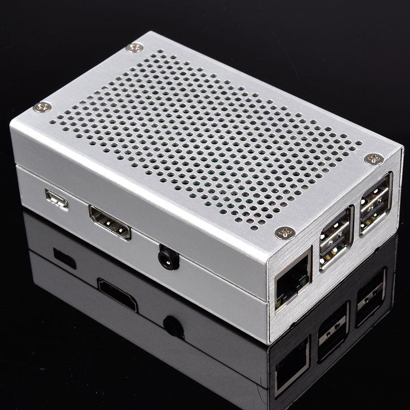 Aluminium Gehäuse für Raspberry Pi 2-3 (Silber)