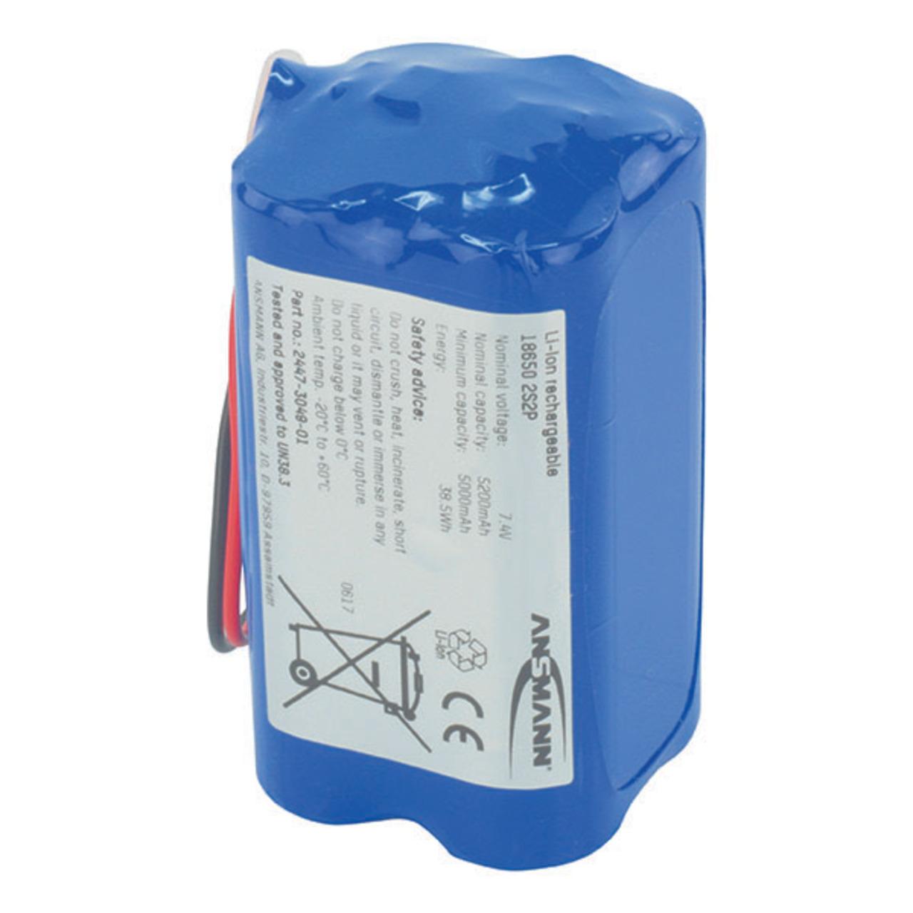 Ansmann 4er-Lithium-Ionen-Akkupack 18650- 2S2P- 7-4 V- 5200 mAh