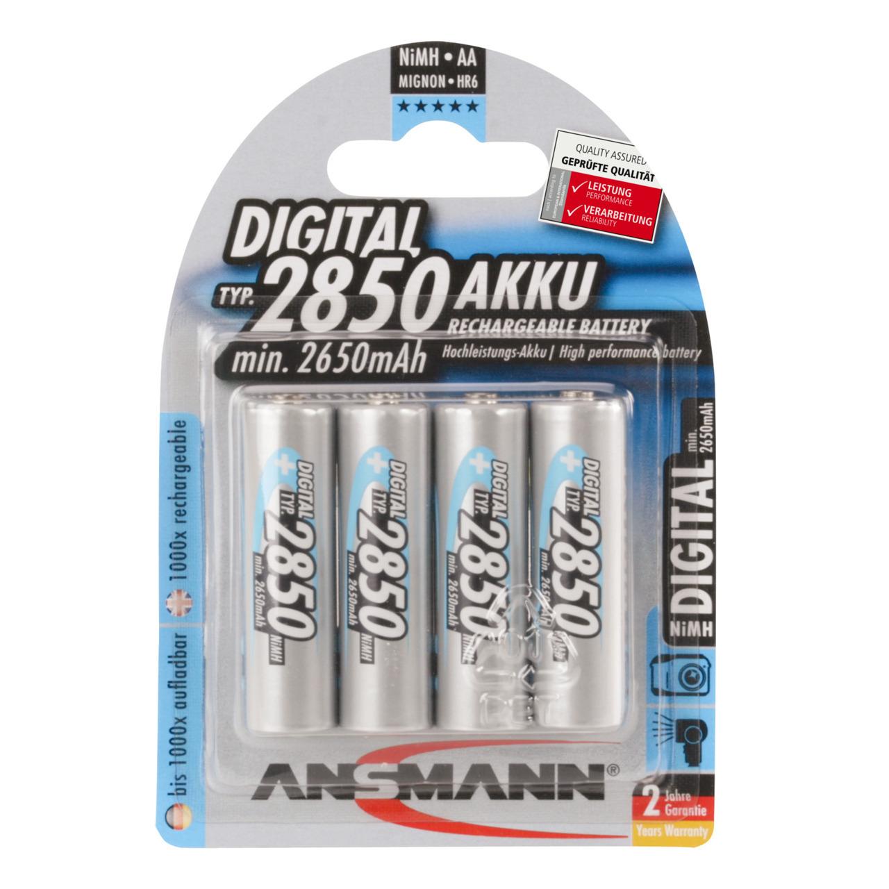 Ansmann DIGITAL NiMH Akku- Mignon AA- Typ 2850- R6 4er Pack