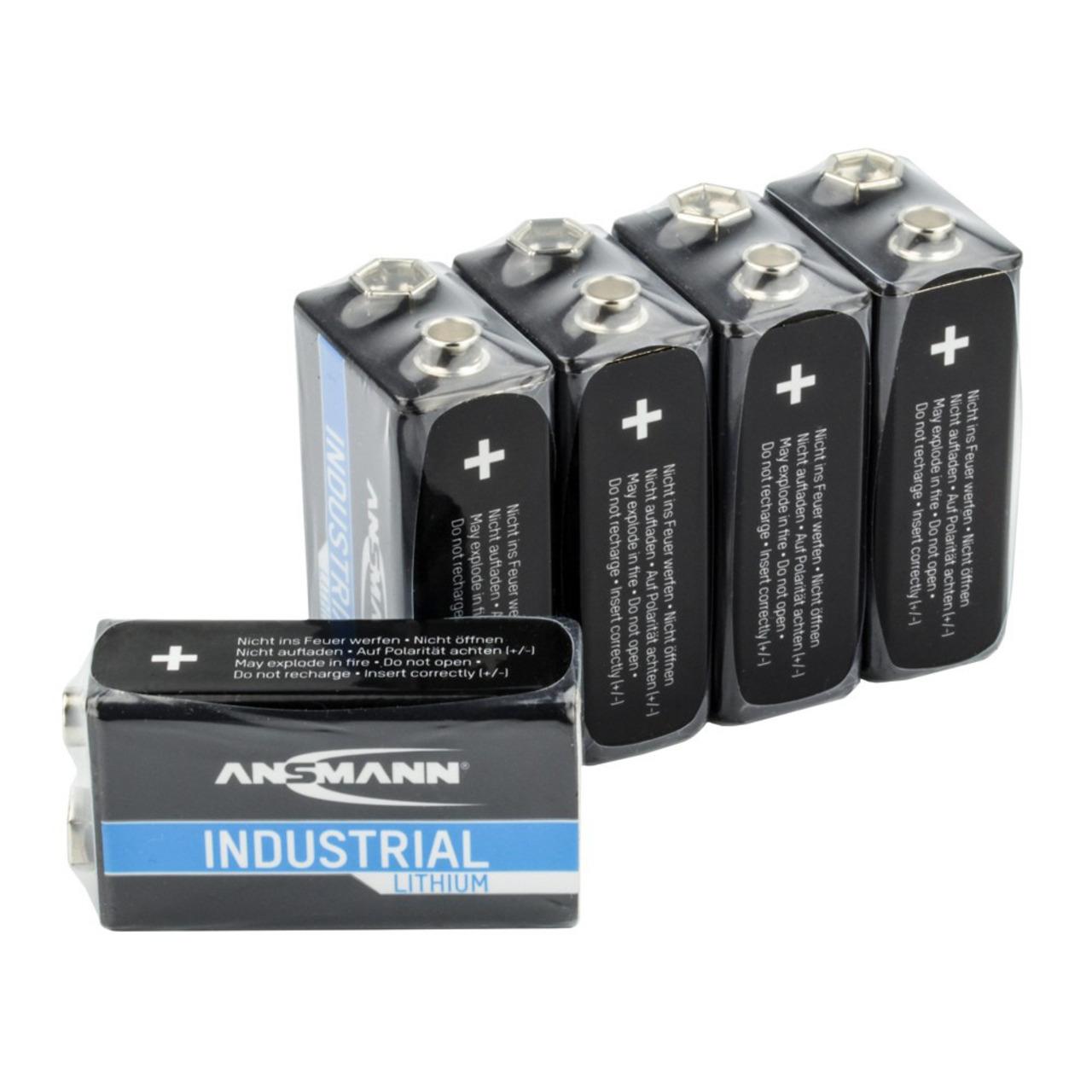 Ansmann Lithium-Batterie 9 V-Block- 5er-Pack