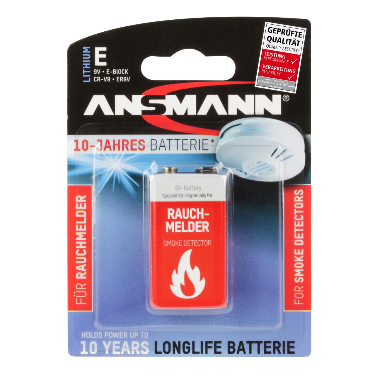Ansmann Lithium Batterie 9-V-Block für Rauchmelder