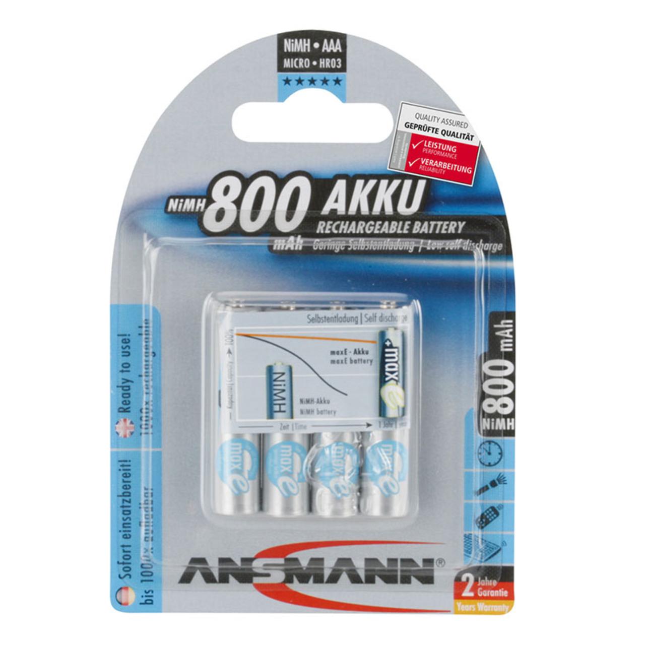 Ansmann maxE NiMH-Akku Micro 800 mAh- 4er Pack