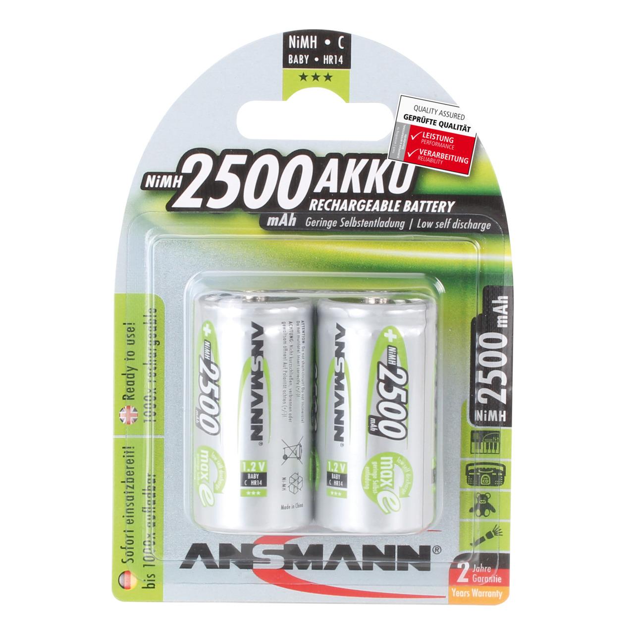 Ansmann NiMH Akku maxE- ready2use Baby C- 2500mAh- R14 2er Pack