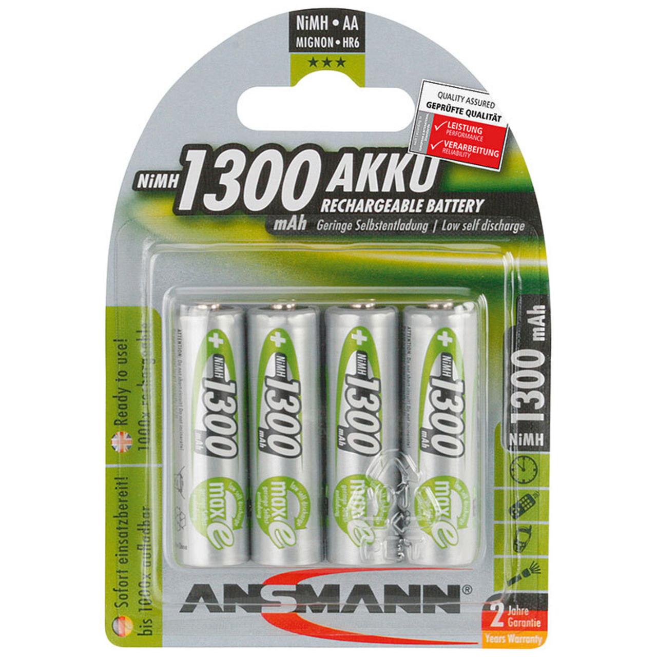 Ansmann NiMH Akku maxE- ready2use Mignon AA 1300mAh- R6 4er Pack