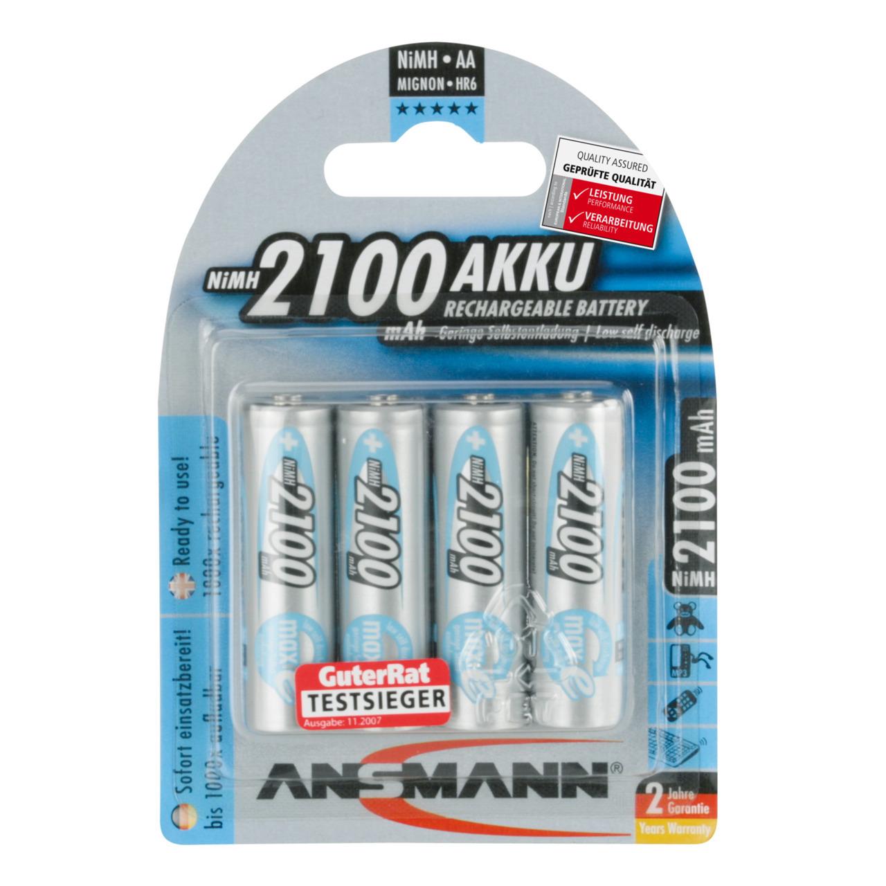 Ansmann NiMH Akku maxE- ready2use Mignon AA 2100mAh- R6 4er Pack