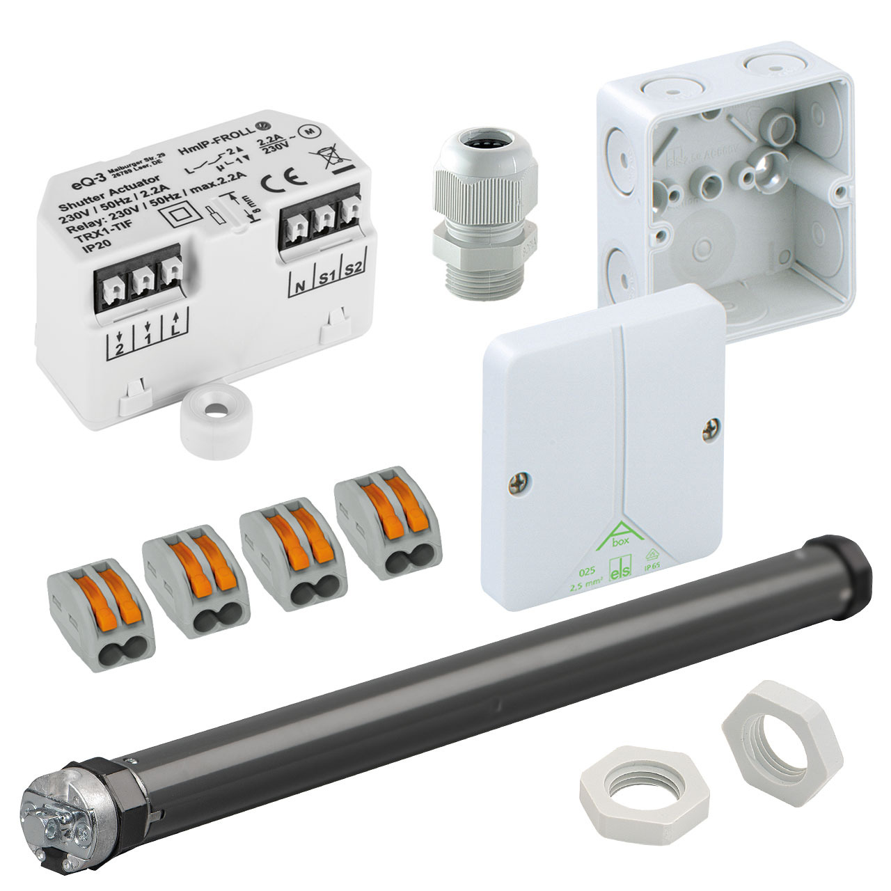Beschattungsset für Homematic IP mit Unterputz-Rollladenaktor- elektronischer Rohrmotor SE Pro 1-10