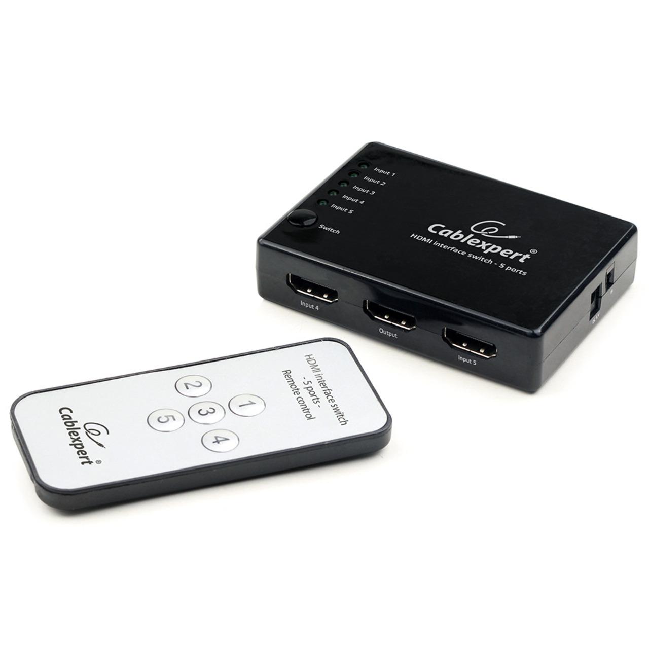 Cablexpert 5-Port HDMI-Switch DSW-HDMI-53- mit Fernbedienung- bis 4K (2160p)