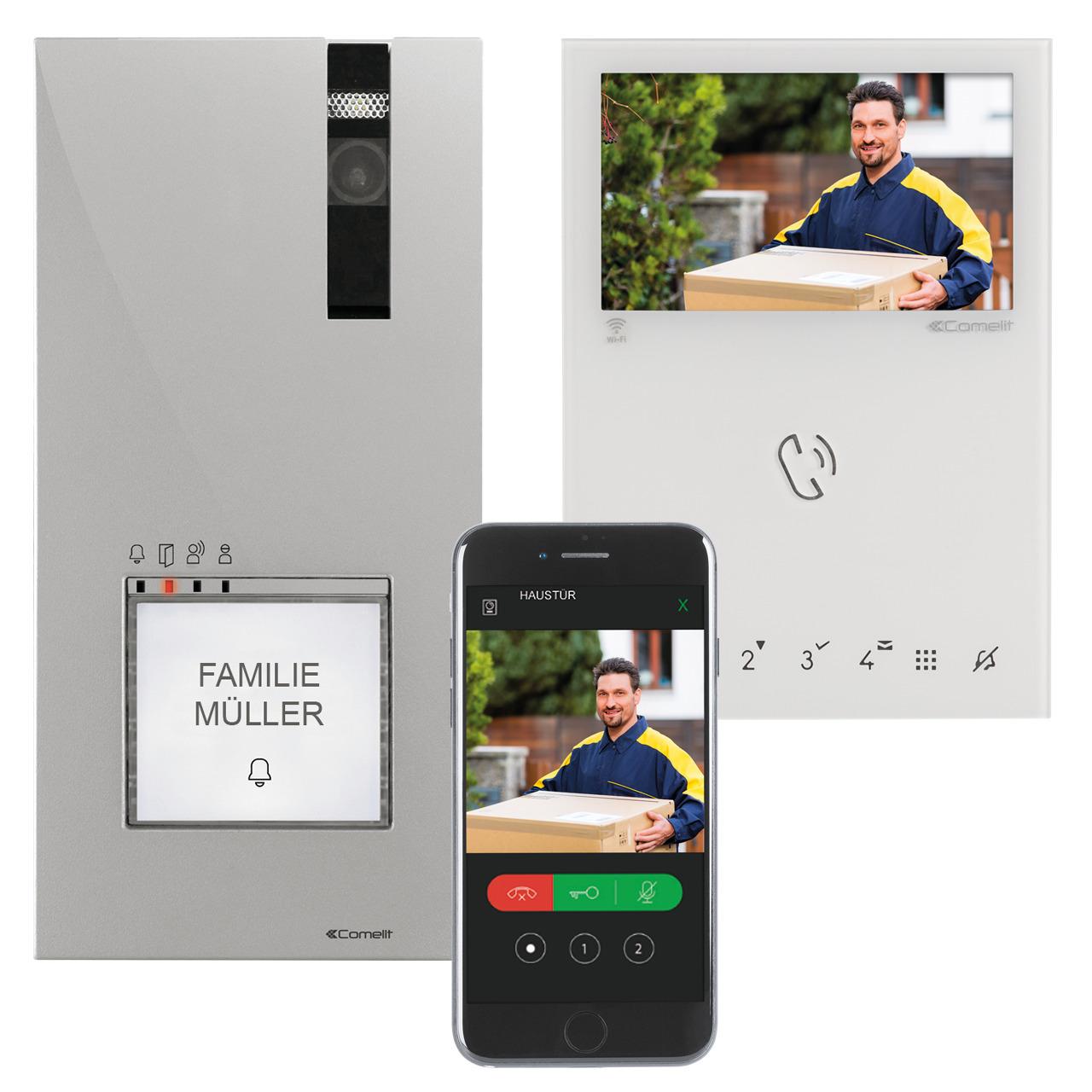 Comelit Wifi-Video-Türsprechanlage für 1-4 Familienhäuser- Inneneinheit mit 10-9-cm-Farbmonitor