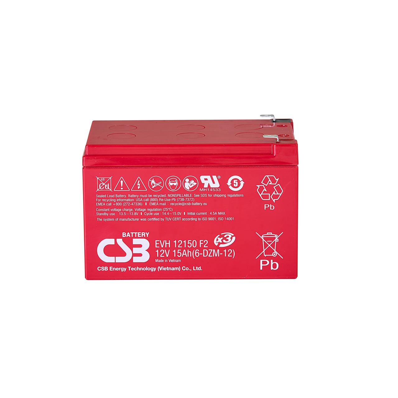 CSB wartungsfreier- versiegelter AGM-Blei-Säure-Akku EVH 12150- 12 V-15 Ah- zyklenfest