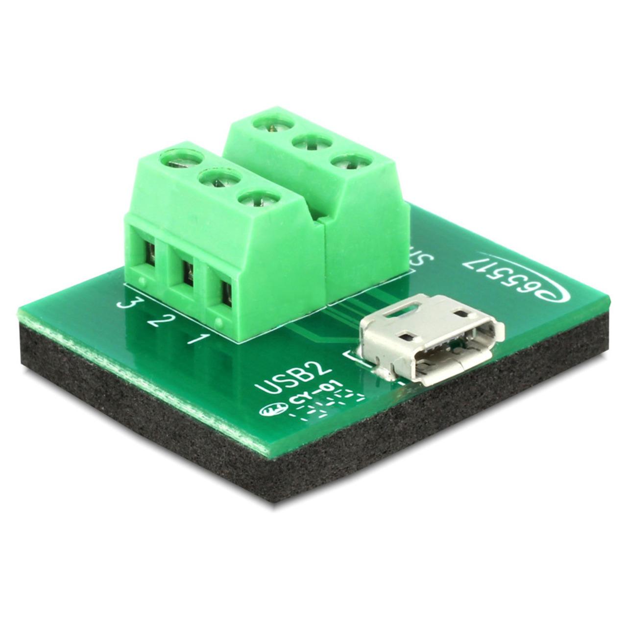 Delock Adapter Terminalblock - Micro USB Typ B Buchse