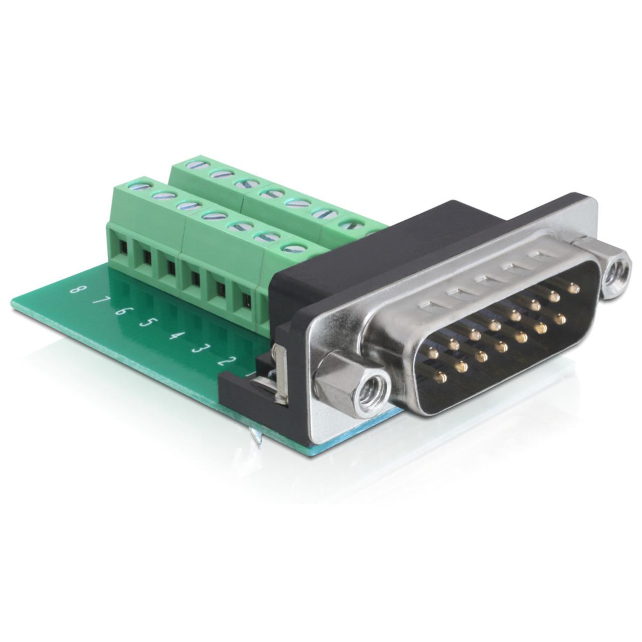 Delock Adapter Terminalblock - Sub-D 15Pin Stecker
